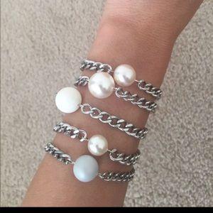 Swarovski Crystal Based Pearl Chain Bracelets